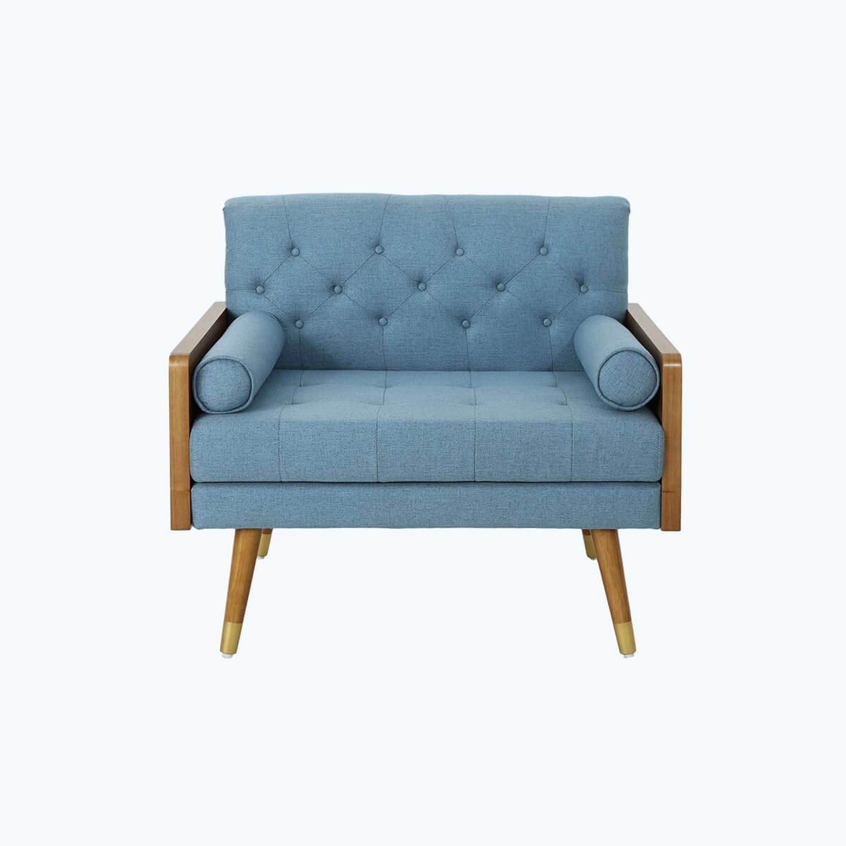 Picture of: Club Chair Blue Fabric Mid Century Modern Furniture Midmod